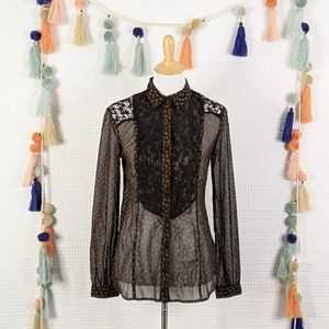 Free People Sheer Floral Lace Top